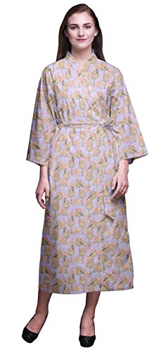 Bimba luz Purpura Pajaro casa del árbol y pájaro Carpintero túnicas para Mujer Impresas largas Bata Kimono Suave algodón Novia preparándose Bata Larga X