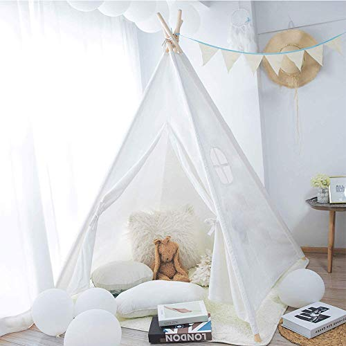 White Teepee Tent for Kids Play Tent Toys Tent Indian Children Tipi Play House Natural Cotton Canvas Children Indian