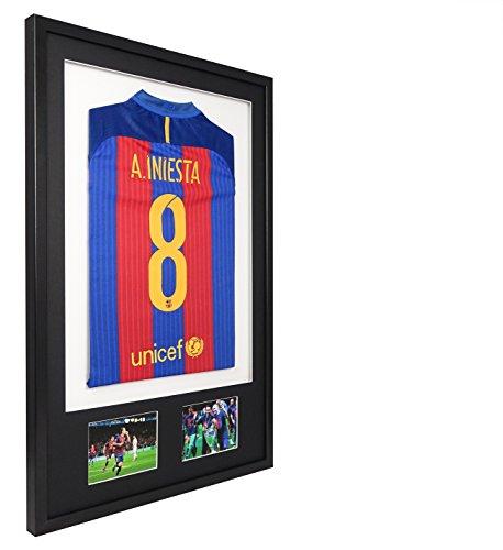 Vivarti® - Marcos 3D para exponer Camisetas Deportivas de Doble Apertura, de 61 x 91,5 cm, Marco Color Negro, paspartú Negro y Fondo Blanco.