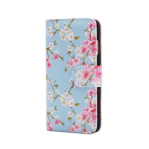32nd Floral Series - Design PU Leather Book Wallet Case Cover for Apple iPhone 7 & 8, Designer Flower Pattern Wallet Style Flip Case With Card Slots - Spring Blue