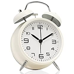Betus [Non-Ticking 4 Twin Bell Alarm Clock - Metal Frame 3D Dial with Backlight Function - Desk Table Clock for Home & Office - Milk White