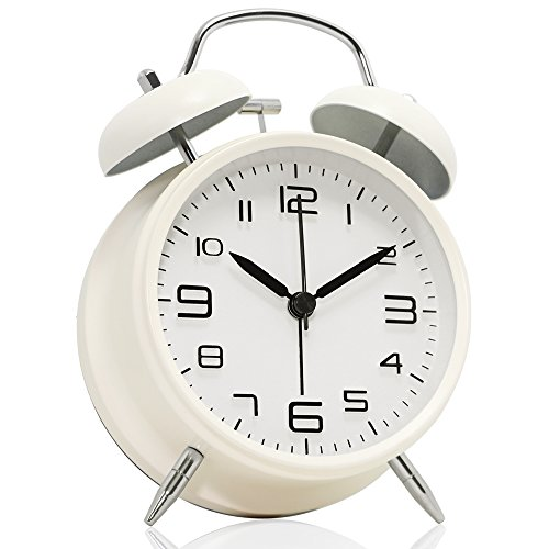 "Betus Non-Ticking 4"" Twin Bell Alarm Clock - Metal Frame 3D Dial with Backlight Function - Desk Table Clock for Home & Office - Milk White"
