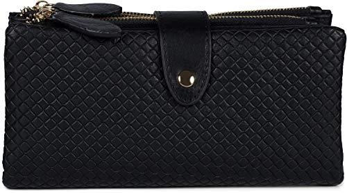 styleBREAKER Damen Portemonnaie mit Quadraten geprägter Oberfläche, Druckknopf, Reißverschluss Geldbörse, Retro Look 02040132, Farbe:Schwarz