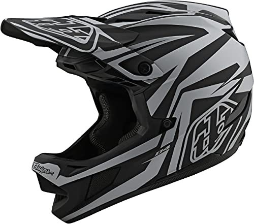 Troy Lee Designs Adult   BMX   Downhill   Mountain Bike   Full Face D4 Composite MIPS Slash Helmet (X-Large, Black/Silver)