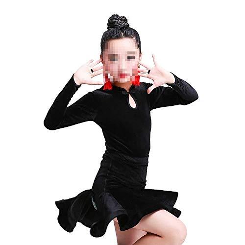 Mooie Dans Rok Latijnse Kleding Lange mouwen Kids Latijnse Praktijk Test Prestaties Herfst en Winter Split Latijnse Dans Rok Mode