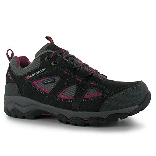 Karrimor Womens Mount Low Ladies Walking Shoes Waterproof Lace Up Hiking Black/Pink 4