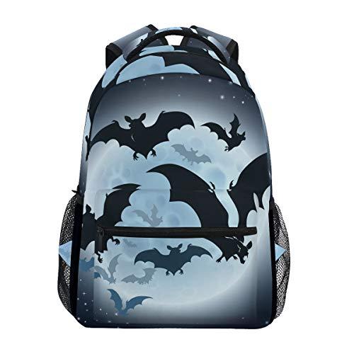Halloween-Rucksack mit Fledermaus-Motiv, große Kapazität, Schultasche, Leinen für Reisen, Tagesrucksack, perfekt für Damen, Herren, Mädchen, Jungen