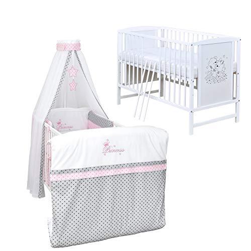 Baby Delux Babybett Komplett Set Kinderbett Mia weiß 120x60 Bettset mit Stickerei Matratze in vielen Designs (Princess Grey Stars)