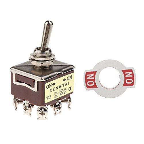 SDENSHI Interruptor de palanca AC 250 V 15 A/380 V 10 A, 9 pines Rocker 3PDT encendido/encendido 2 posiciones