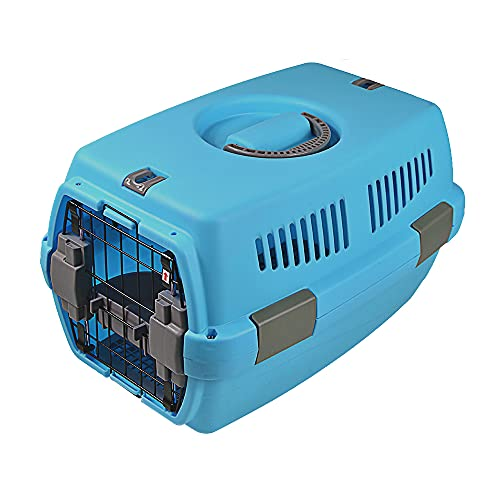 TNZMART Portable Pet Airline Box Plastic Hard-Sided Pet Carrier Crate Heavy-Duty Outdoor Dog Kennel (Blue)