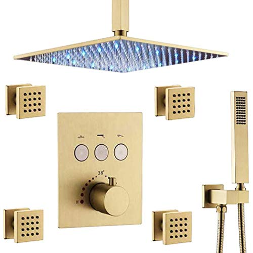 """12"""" LED Rain Shower Head System with Body Sprays and Handheld All Metal, HOMEDEC Thermostatic Bathroom Faucet Mixer Complete Ceiling Mount (Allows Multiple Heads to Function At a Time)"""