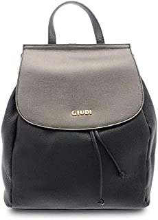 GIUDI ® - Borsa Donna in pelle vitello e saffiano, zaino, vera pelle,Made in Italy. (Nero/Antracite metal)