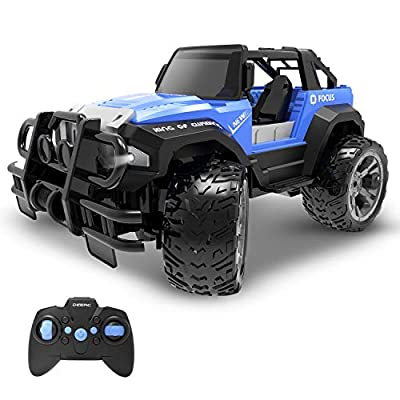 DEERC DE42 Remote Control Car RC Racing Cars,1:18 Scale 80 Min Play 2.4Ghz LED Light Auto Mode Off Road RC Trucks with Storage Case,All Terrain SUV Jeep Cars Toys Gifts for Boys Kids Girls Teens,Blue by DEERC