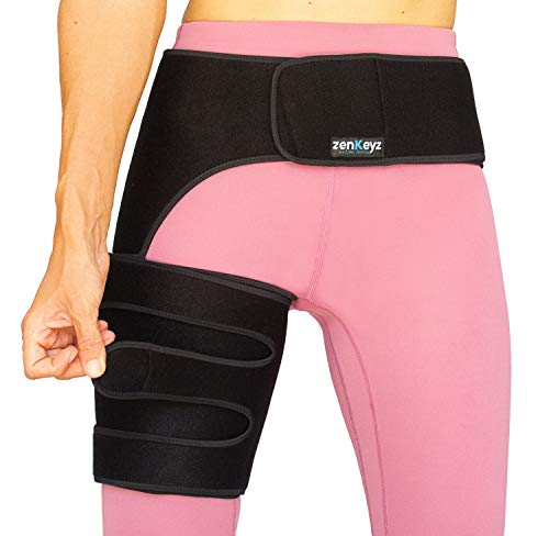 Copper Compression Hip Brace Sciatica - Groin Wrap for Pain Relief Thigh Compression Sleeve - Support for Hip Flexor Arthritis for Pulled Muscles-Sciatica Nerve Brace Injury for Men and Women (Right Leg)