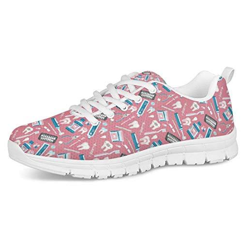 Sapotip Lässige Schnür-Sneaker für Mädchen, leicht, für Spaziergänge, Outdoor-Sport, Laufen, - Dental 2 - Größe: 37 EU