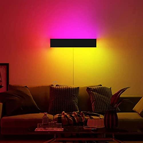 ZMLG RGB Aplique De Pared LED Interior Lámpara De Pared Regulables Con Cable Enchufe, Luz De Estado De Ánimo Con Control Remoto, Iluminación Colorida Para Dormitorio Sala De Estar Pasillo,40cm