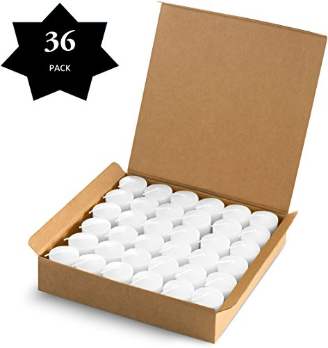 Votive Candles White - 15 Hour Burn Time - 36 Pack Emergency Candles - for Weddings, Parties, Holiday and Home Decoration