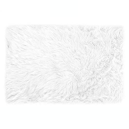 Lammfell-Teppich Kunstfell Schaffell Imitat   Wohnzimmer Schlafzimmer Kinderzimmer   Als Faux Bett-Vorleger oder Matte für Stuhl Sofa (Weiss - 60 x 90 cm)