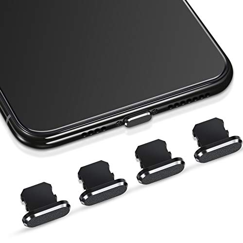 Weewooday 4 Pieces Anti Dust Plugs Compatible with iPhone 11, iPhone 12 Protects Charging Dust Cover Compatible with iPhone 11, 12, Pro, Max/X/XS/XR, 7, 8 Plus, iPad Mini/Air (Black)