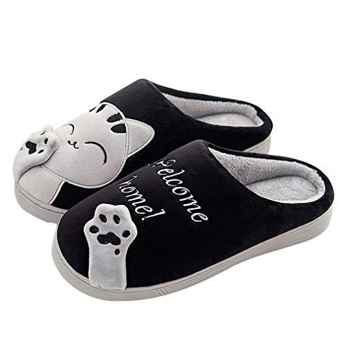 Invierno Cálido Zapatillas de Estar por casa Interior para Mujere Hombre patrón Gatos 38/39 EU (Tamaño de Etiqueta 40/41) Gato-Negro