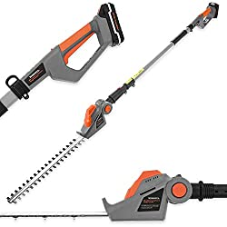 LONG REACH: This fantastic telescopic hedge trimmer is ideal for clipping tall, awkwardly-sited or hard-to-reach hedges and shrubs thanks to the 1.3m extendable pole providing you with a total extension of 2.4m from handle to head. Also allows you to...