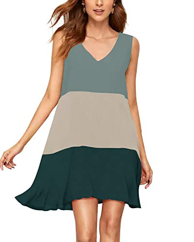 SUNNYME Mini Robe sans Manches Femme Robe de Réservoir D'été Robe de T-Shirt à Patchwork de Couleur Vert foncé S