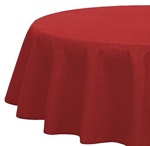 Brandsseller - Gartentischdecke geschäumt - wetterfeste und rutschfeste Tischdecke für Garten Balkon und Camping (Oval 160x220 cm, Rot)