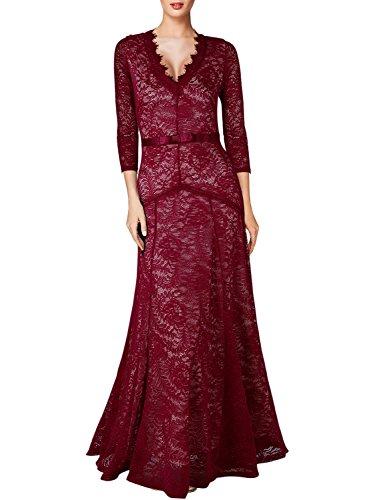MIUSOL Damen Abendkleid 3/4 Ärmel Spitzen V-Ausschnitt Maxi Heimkehrkleid Brautkleid Festkleid...