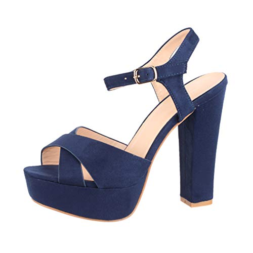 Elara Damen Pumps Bequeme Peep Toe Pumps Trendige Plateau High Heels Chunkyrayan AT0985 Blue-40