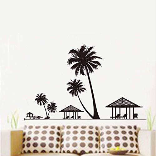 yiyishop Urlaub Strand Palmen Kokospalme Wandaufkleber Salon Wohnzimmer Schlafzimmer Wohnkultur Pavillon Stühle Wandbild Wandtattoo 60X90 cm