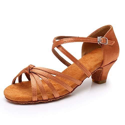 SWDZM Mujer/Niñas Zapatos de Baile/estándar de Zapatos de Baile Latino Satén Ballroom Modelo ES-XGG Marrón 31.5 EU/19.8CM