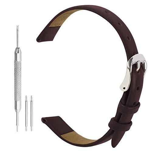 Bracelet de Montre 8mm Marron Bande de Montre Ceinture Sangle de Bande 8 mm Montre en Cuir Véritable Brun