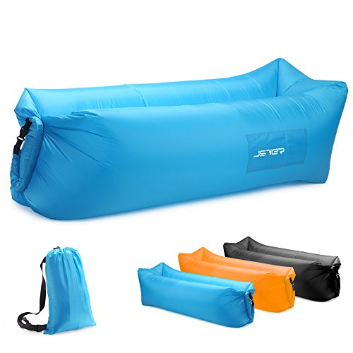JSVER Inflatable Lounger Air Sofa with Portable Package for Travelling, Camping, Hiking, Pool and Beach Parties, Blue