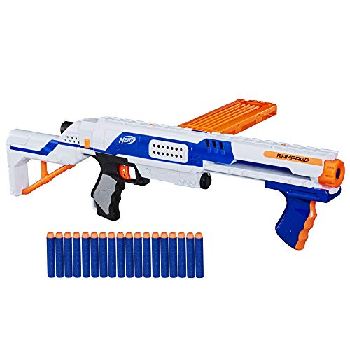 Nerf Rampage N-Strike Elite Blaster with 18 Official Elite Darts, 18-Dart Clip, Removable Stock -- for Kids, Teens, Adults