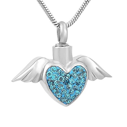 TIANZXS Collar con Colgante de urna de Recuerdo de urna Conmemorativa de corazón de Cristal Transparente Rosa Azul Azul
