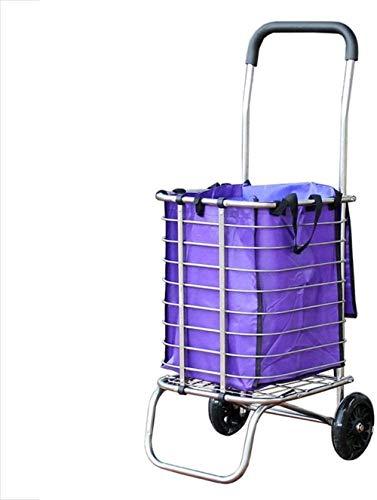 Faltbare Einkaufswagen mit Edelstahl for die Haushalte, Lebensmittelgeschäft auf Trolley Tragbare Der alte Gabelstapler (zwei Räder/Vier Räder) A + (Farbe: A) Farbe: B (Color : A)