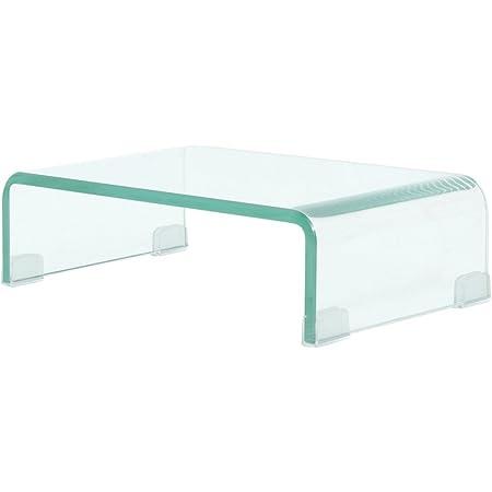 Festnight TV-Tisch aus Glas Bildschirmerh/öhung Monitortisch TV-Schrank Glastisch Fernsehtisch TV-Board 40x25x11cm Wei/ß
