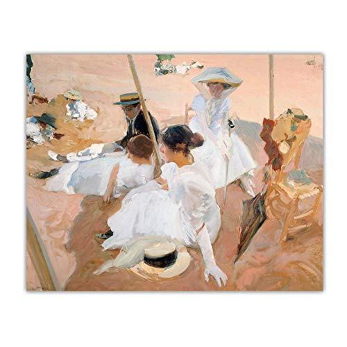 Vscdye Joaquin Sorolla 《Debajo del toldo, en la Playa de Zarauz》 Lienzo Pintura al óleo Imagen Telón de Fondo Decoración de Pared Decoración para el hogar-24x32 IN Sin Marco