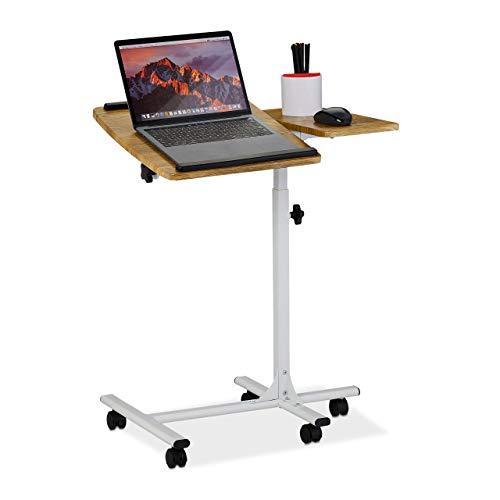 Relaxdays Mesa para portátil (Altura Regulable, con Ruedas, Tablero inclinable, Bandeja para ratón, 68 x 88 x 61 x 40 cm), Color marrón y Blanco, 1 Unidad