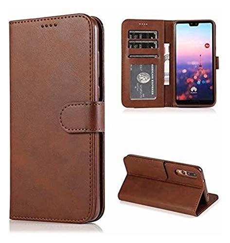 Accesorios para teléfonos celulares para Huawei P20 Lite P20 P3 P30 Pro, Cartera de cuero Funda de soporte de la billetera para Mate 20 Lite Nova3i Honor 10 8x 8c Y9 (Color: marrón oscuro, Material: p