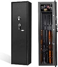 Biometric Rifle Gun Safe Fingerprint Shotgun Safe, Large 5-Gun Rifle Cabinet Quick Access , Long Gun Safe for Rifle, Pistols, Home with Separate Lock Box(Black/Metal)