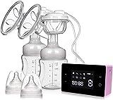 Tire-lait électrique Tire-lait simples et doubles Tire-lait d'allaitement portable avec écran tactile LCD intelligent avec 4 modes et 10 niveaux d'aspiration du lait maternel, massage du sein