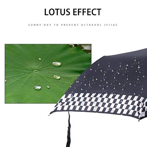 Tragbarer, automatischer, faltbarer Regenschirm, schwarz, kariert, winddicht, Reise-Regenschirm – kompakter, doppelt belüfteter Faltschirm mit automatischer Öffnung und Schließtaste für Mini Cooper