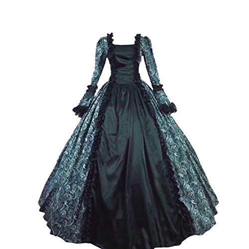 Women's Victorian Rococo Dress Inspiration Maiden 1800's Ball Costume/Halloween Costumes/Party Dress (XL:Height65-67 Chest42-43 Waist33.5-35″, Green & Black)