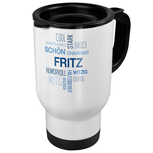 printplanet Thermobecher weiß mit Namen Fritz - Motiv Positive Eigenschaften (Tag Cloud) - Coffee to Go Becher, Thermo-Tasse