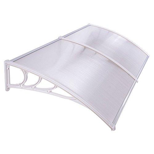 HENGMEI 100x200cm Vordach Haustür Überdachung Haustürvordach Pultvordach Türdach Regenschutz, Transparent Kunststoff, Weiß