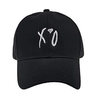 XO Letter Embroidred Baseball Hat Red Love Cap Unisex Adjustbale Strapback Dad Hat  Black