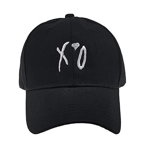 XO Letter Embroidred Baseball Hat Red Love Cap Unisex Adjustbale Strapback Dad Hat (Black)