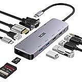 ICZI USB C ハブ 11-in-1 HDMI 4K出力 VGA デュアルディスプレイ接続可 / PD 100W / LAN イーサネット 1Gbps / USB3.0 x2 ウェブカメラ接続可 / USB2.0 x2 / TF&SD カードリーダー / オーディオ 入出力ポート / Type C 変換アダプタ ウェブ会議用 ドッキングステーション 在宅勤務 テレワーク MacBook Air M1/Pro、iPad Pro、iPad Air 4、Surface Pro 7/X、XPS、Lavie、SpectreなどType-C、Thunderbolt 3機器対応