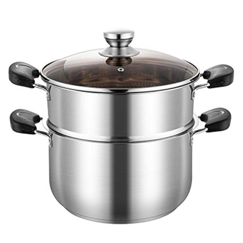 Stainless Steel Double Layers Pot, For Cooking Soup And Steaming Food,4.7 Quart And 6.3 Quart Pot Steamer Insert And Glass Vented Lid Piece Safe And Durable - Great Addition To Every Kitchen,6.3 Quart
